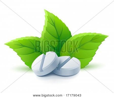 natural medical pills with green leaves vector illustration, isolated on white background
