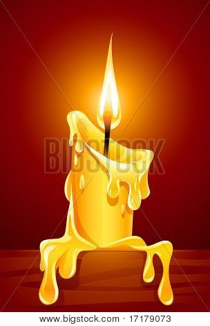 flame of burning candle with dripping wax