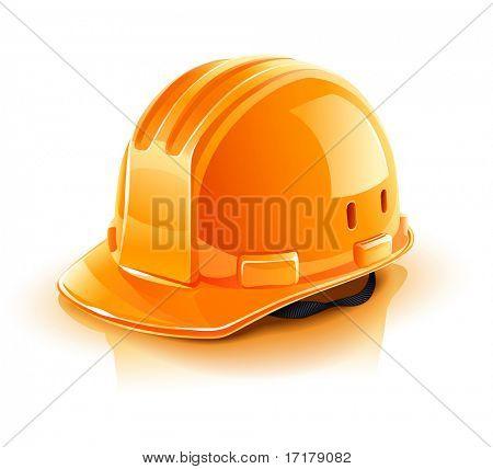 capacete laranja para trabalhador de Construtor