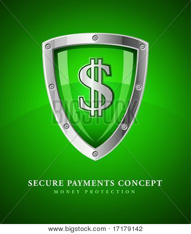 financial security shield as symbol safety with sign dollar currency vector illustration
