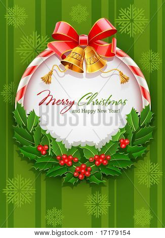 christmas wreath with bow and gold bell vector illustration on green background with snowflakes