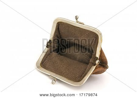 Old and empty purse isolated on white with shadow.