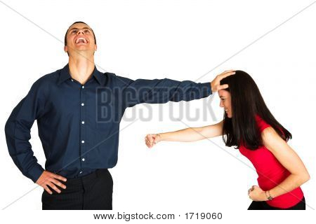 Businessman Fighting With Businesswoman On White Background