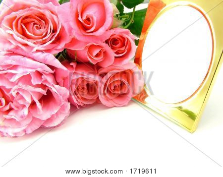Pink Roses And Gold Photo Frame