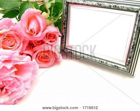 Pink Roses And Silver Photo Frame