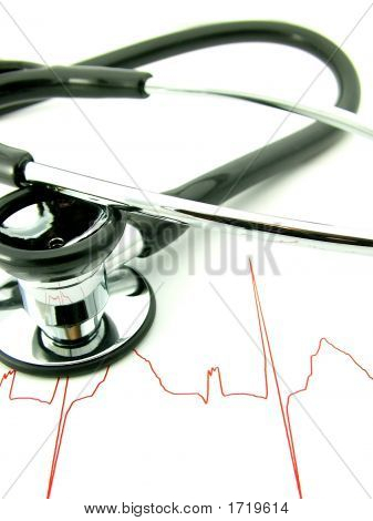 Medical Stethoscope And Red Ecg