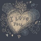 I love you - retro romantic background