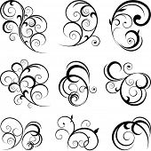 foto of tendril  - Vector decorative swirling flourishes - JPG