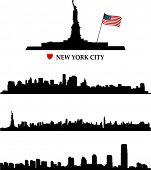 Постер, плакат: Нью Йорк на фоне линии горизонта