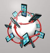 pic of mobile-phone  - Many modern smart phones with apps on their touch screens around a global communication network - JPG