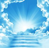 Stairway to Heaven.Stairs in sky.  Concept with sun and white clouds.Concept  Religion  background poster