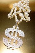 stock photo of gangster necklace  - Dollar symbol necklace - JPG