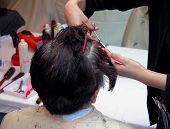 stock photo of hair cutting  - two hands cutting hair in an old women had - JPG