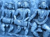 picture of belur  - Indian drummer carvings in temple - JPG