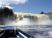 foto of canaima  - Waterfalls in Canaima strong water power in the lagoon - JPG