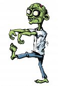 stock photo of lurch  - Cartoon zombie isolated on white - JPG