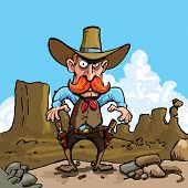 image of sixgun  - Cartoon cowboy with sixguns  - JPG
