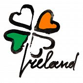 Ireland. Four leaf Irish clover with colors of the Ireland flag and lettering over white background poster