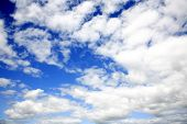 White fluffy clouds in blue sky poster