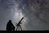 Man With Astronomy  Telescope Looking At The Stars. poster