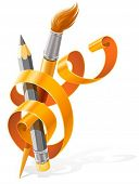 art tools pencil and brush braided by orange ribbon vector illustration, isolated on white backgroun