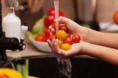 Preparing a healthy salad - child hands washing cherry tomatoes at the kitchen sink, shallow depth poster