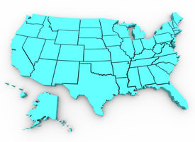 stock photo of united states map  - A blue 3d rendering of a United States map - JPG