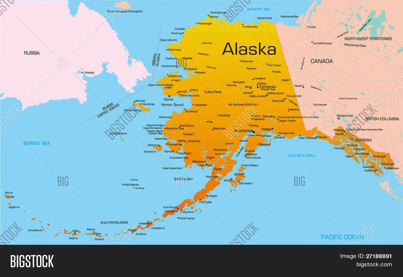 Mapa De Localização De Pontos De Vetor Localização De: Mapa De Cor Do Vetor De Estado Do Alasca. Estados Unidos