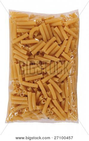 Pasta packaging. Isolated