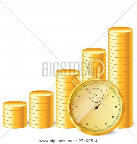 stopwatch with stack of coins