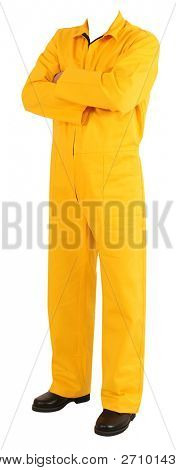Unrecognizable person with coverall. Isolated