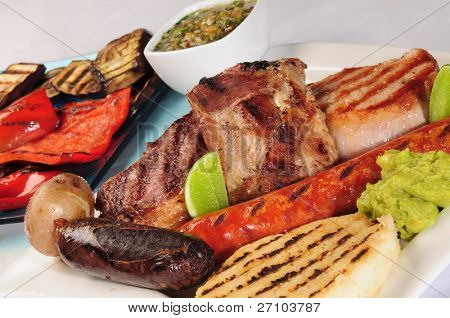 Barbecued meat.