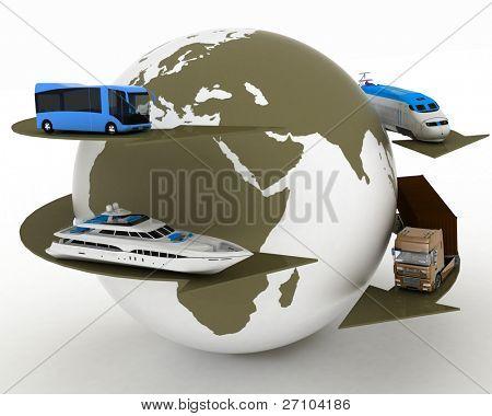 Arten des Verkehrs auf der Hintergrundkarte der Welt