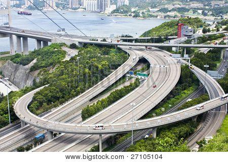 Aerial view of complex highway interchange in HongKong