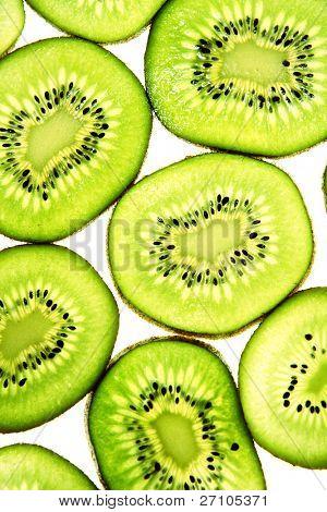 Sliced Kiwifruit isolated on white studio shot .