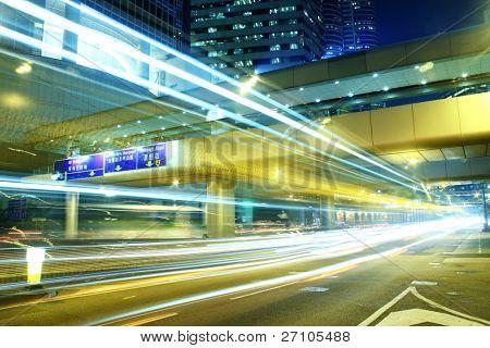 Traffic through downtown hongkong night
