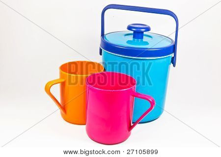 Colorful Plastic Water Canteen And Cups