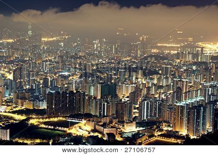 hong kong residential city night