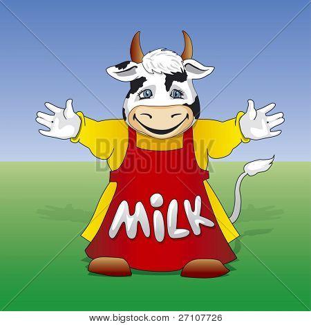 Cartoon Friendly Milk Cow  (Fully Editable Vector Image)