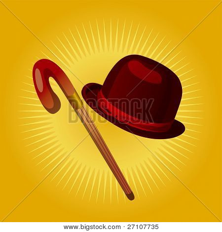 Retro Hat & Cane  (Fully Editable Vector Image)