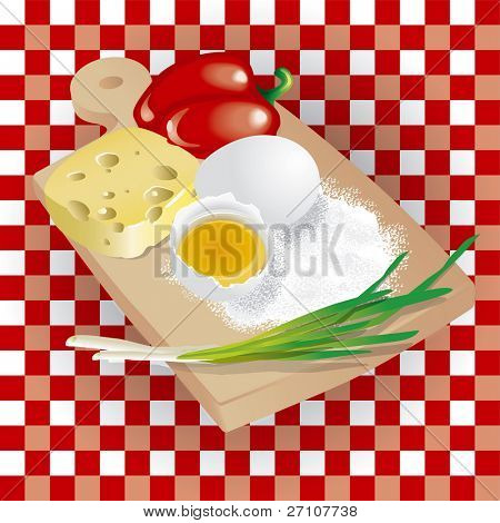 Still Life With Food Products (Fully Editable Vector Image)