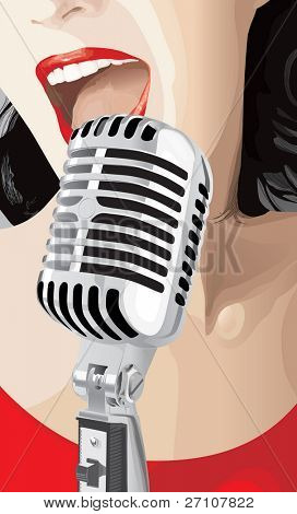 Pop Singer (editable vector). In the gallery also available jpeg image made from this vector.