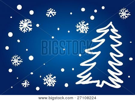 Christmas Tree Freehand Drawing (also available vector version of this image in our gallery)