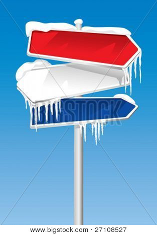 Frozen Signpost (vector). In the gallery also available XXL jpeg image made from this vector