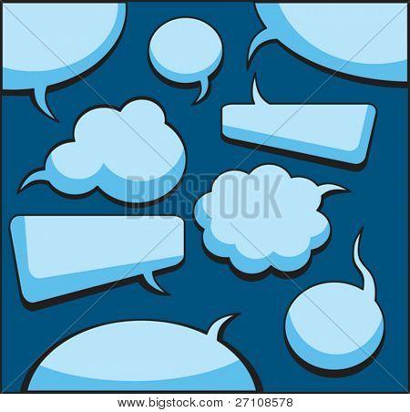 Discurso y pensamiento burbujas (vector).