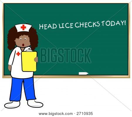 Woman School Nurse Head Lice Checks