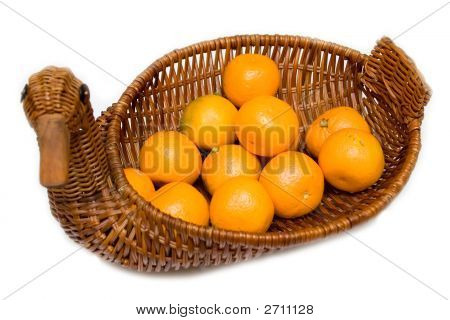 Mandarines On The Tray Like Goose Isolated