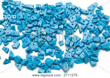 Blue Beads On The Isolated Background
