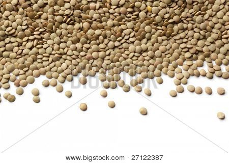 Brown lentils scattered on white background