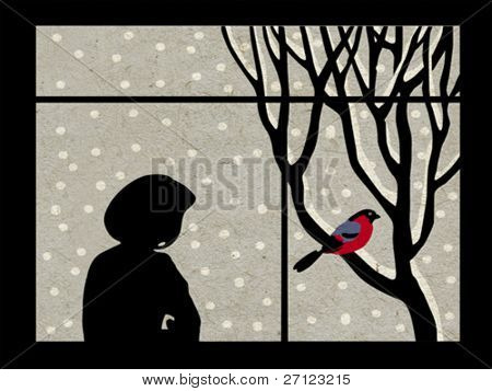 woman by the window on grunge background, vector illustration